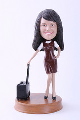 Girl with suitcase custom bobble head doll 2 Premium