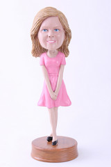 Girl with hands together custom bobble head doll Premium
