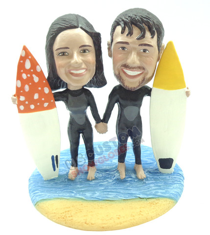 Couple surfing and holding hands custom snow globe