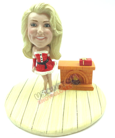 Female in sexy santa suit personalized snow globe