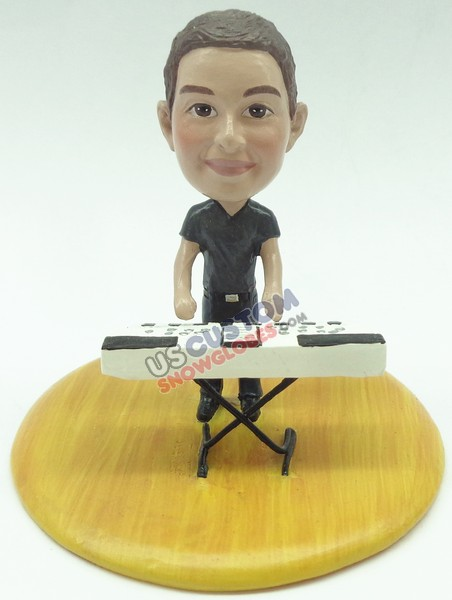 male keyboard player personalized snow globe