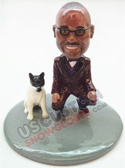 Man kneeling next to his dog personalized snow globe