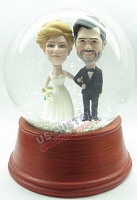 Side by side bride and groom personalized snow globe