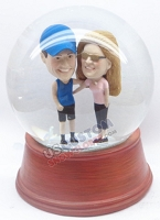 Happy couple personalized snow globe