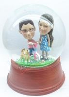 Mother and child on bicycle personalized snow globe