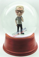 personalized snow globe hockey referee on skates with whistle