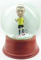Male soccer player personalized snow globe