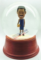 Male basketball player personalized snow globe