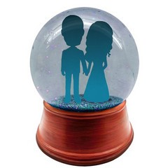 You design full head to toe personalized couple snow globe