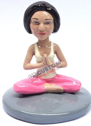Female yoga lotus position personalized snow globe