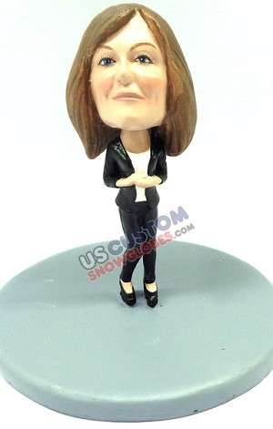 Business woman wearing causal office attire personalized snow globe