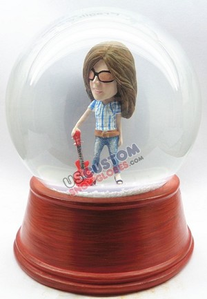 Women holding a guitar personalized snow globe