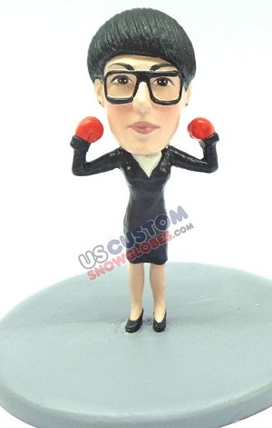 Female executive with boxing gloves on personalized snow globe