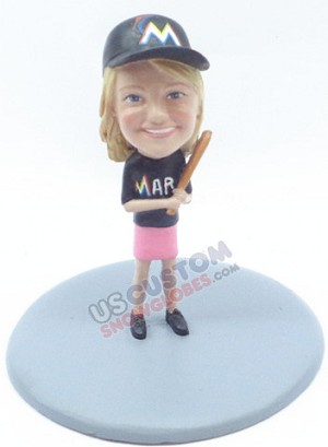 Baseball Female holding a bat and ready to swing personalized snow globe