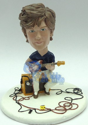 Male sitting on his amp playing a electric guitar personalized snow globe