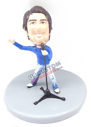 Male singer personalized snow globe