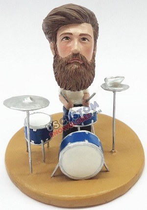 Male drummer sitting and jamming personalized snow globe