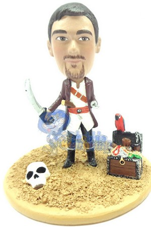 Male pirate with pet parrot personalized snow globe