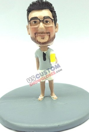 Male wearing shorts with beer personalized snow globe