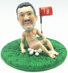 Whimsical golfer in the buff on the 18th hole personalized snow globe
