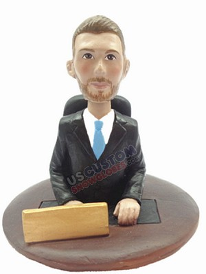 Business man sitting personalized snow globe