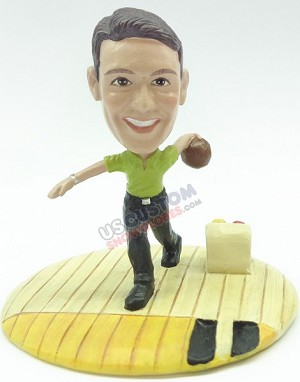 Male bowler ready to throw the ball personalized snow globe