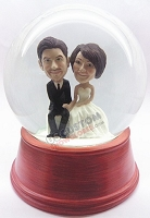 Custom Snow Globe | Wedding Couple On Bench