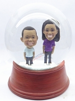 Custom Snow Globe | Mother And Son Or Brother And Sister