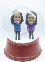 Custom Snow Globe | Two Women Standing Together
