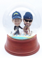 Custom Snow Globe | Two Males Sitting At The Beach With 2 Dogs