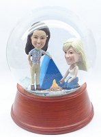 Custom Snow Globe | Couple Camp Scene