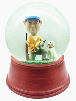 Custom Snow Globe | Male Duck Hunter With Gun And Dog