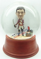 Custom Snow Globe | Male Pirate With Pet Parrot