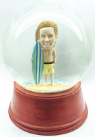 Custom Snow Globe | Male Surfer With Board