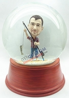 Custom Snow Globe | Male Fisherman With A Fish