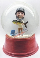 Custom Snow Globe | Male Fisherman With Huge Fish