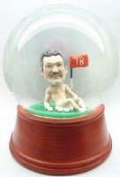 Custom Snow Globe | Whimsical Golfer In The Buff On The 18Th Hole