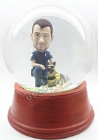 Custom Snow Globe | Officer And Dog Globe