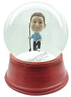 Custom Snow Globe | Male Golfer On One Knee With Golf Ball