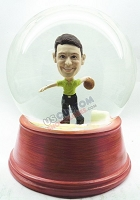 Custom Snow Globe | Male Bowler Ready To Throw The Ball
