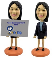 Business Card Holder - Women personalized bobble head doll