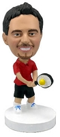 Tennis player in Red personalized bobble head doll