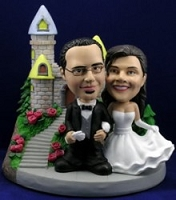 Wedding custom bobble head doll  with castle (Black Tux)