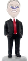 Man with hands in pocket Red Tie custom bobble head doll