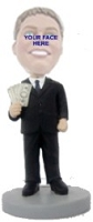 Man with money in suit custom bobble head doll