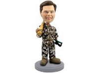 Hunter with Gun and case custom bobble head doll