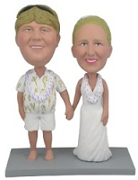 Wedding  couple Hawaiian custom bobble head doll