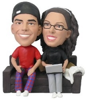 Computer couple on couch custom bobble head doll