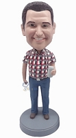 Casual Male in jeans custom bobble head doll  2 holding can