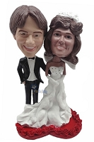 Wedding couple custom bobble head doll On Heart